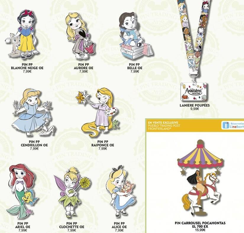 Verschiedene Disney Pins mit Motiven der Disneyprinzessinnen sind auf einer Grafik zu den Pin-Neuerscheinungen im März 2020 im Disneyland Paris zu sehen