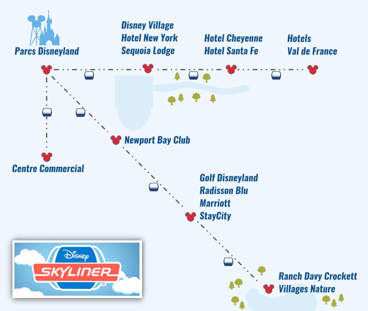 Übersicht über das Streckennetz des Disneyland Paris Skyliners
