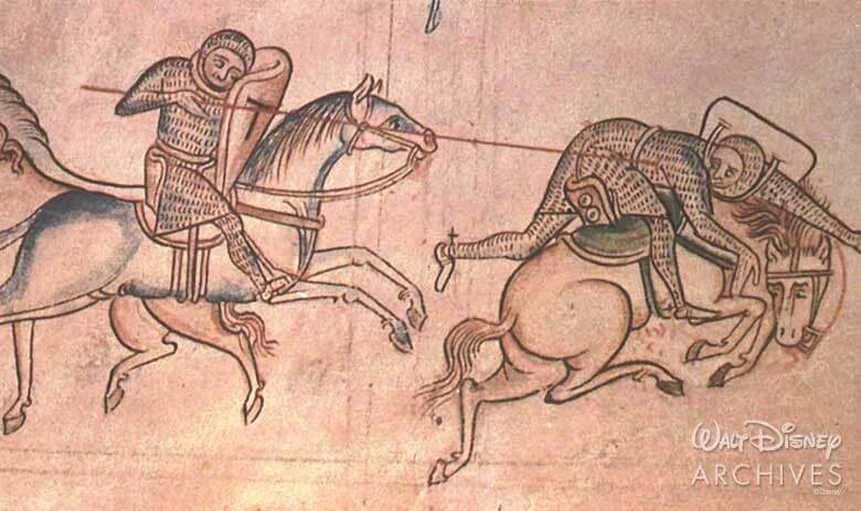 Mittelalterliche Malerei: zwei Ritter bei einem Turnier