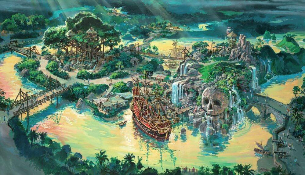 Konzeptzeichnung für Adventureland mit Piratenschiff, Baumhaus und Totenkopffelsen