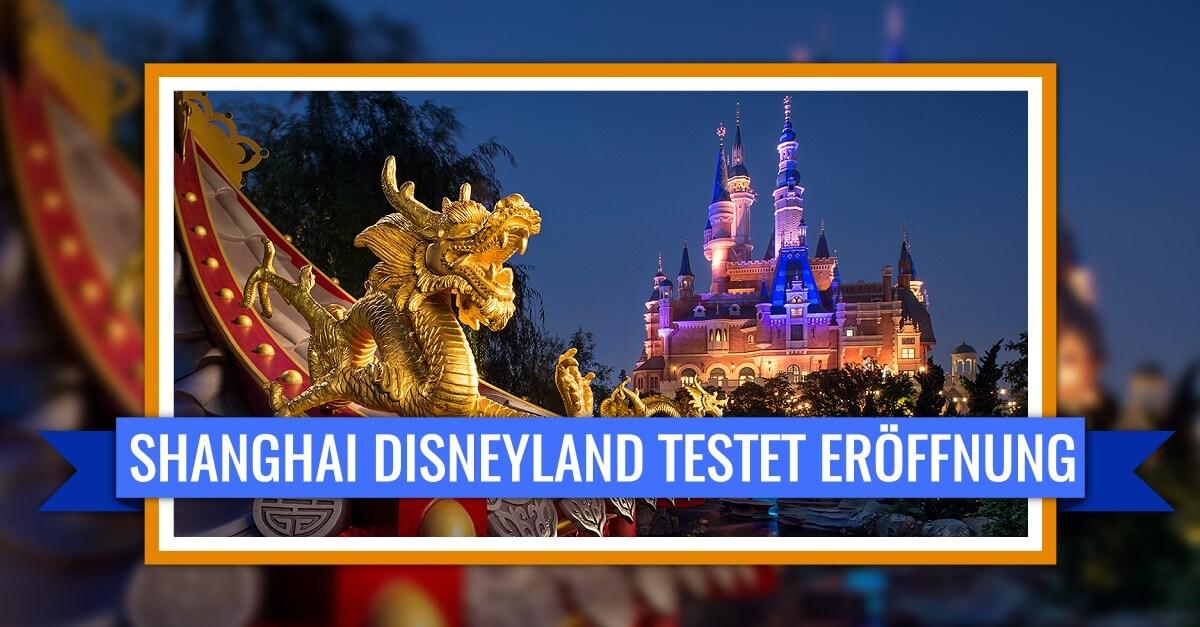 Shanghai Disneyland testet Wiedereröffnung: Schloss und Drache bei Nacht