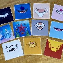 verschiedene Disneymotive wie Stitch, Grinsekatze, Simba oder Grumpy für Masken zugeschnitten