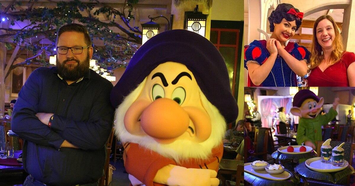 Essen mit Disney Figuren: Grumpy, Schneewittchen und Dopey
