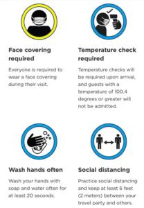 Infografik zu den Corona-Sicherheitsmaßnahmen an Universals City Walk