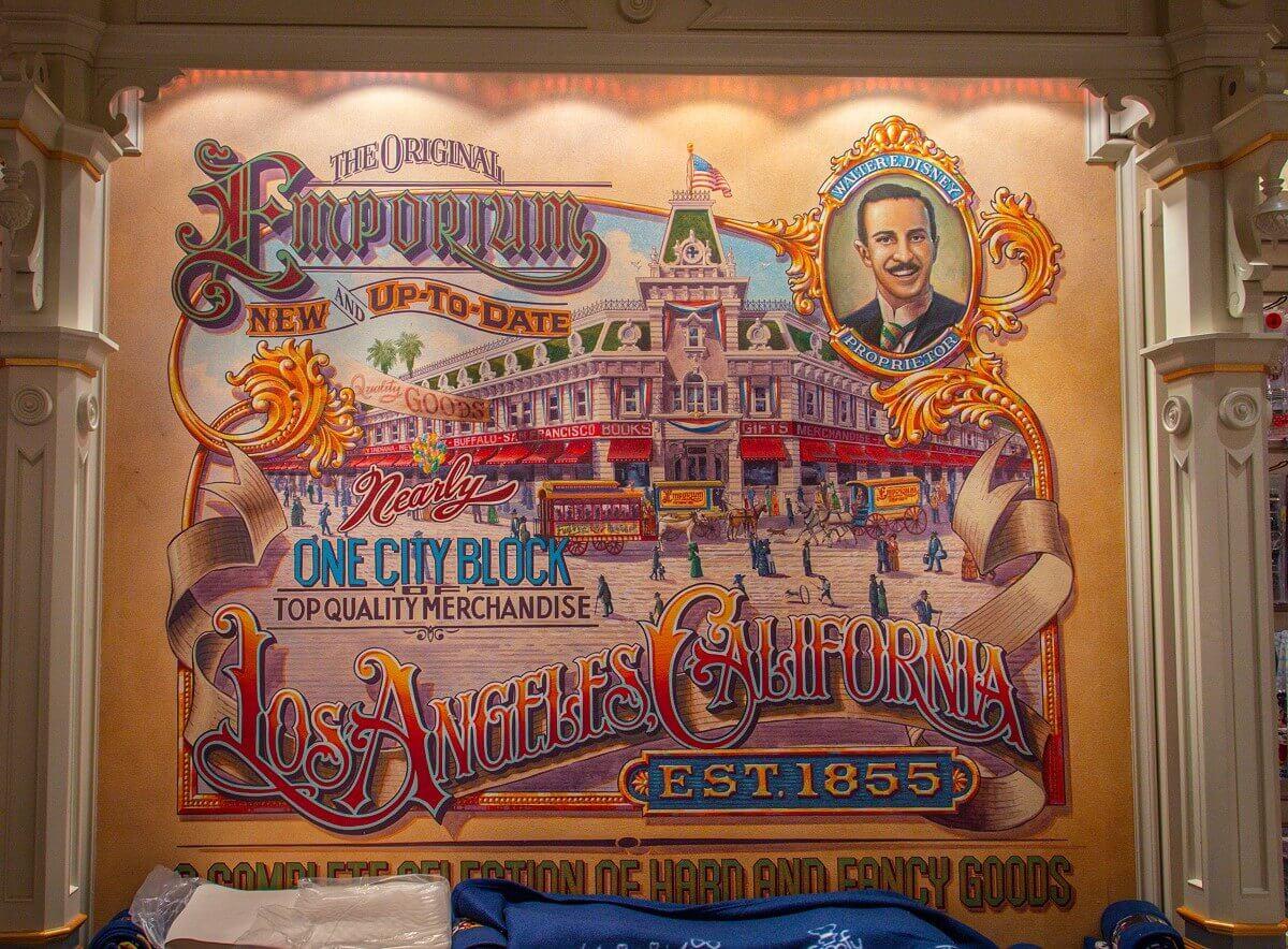Wandgemälde im Emporium, das die Filiale in Los Angeles von 1855 zeigt