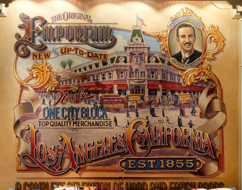 Wandgemälde mit dem Emporium in Los Angeles, California