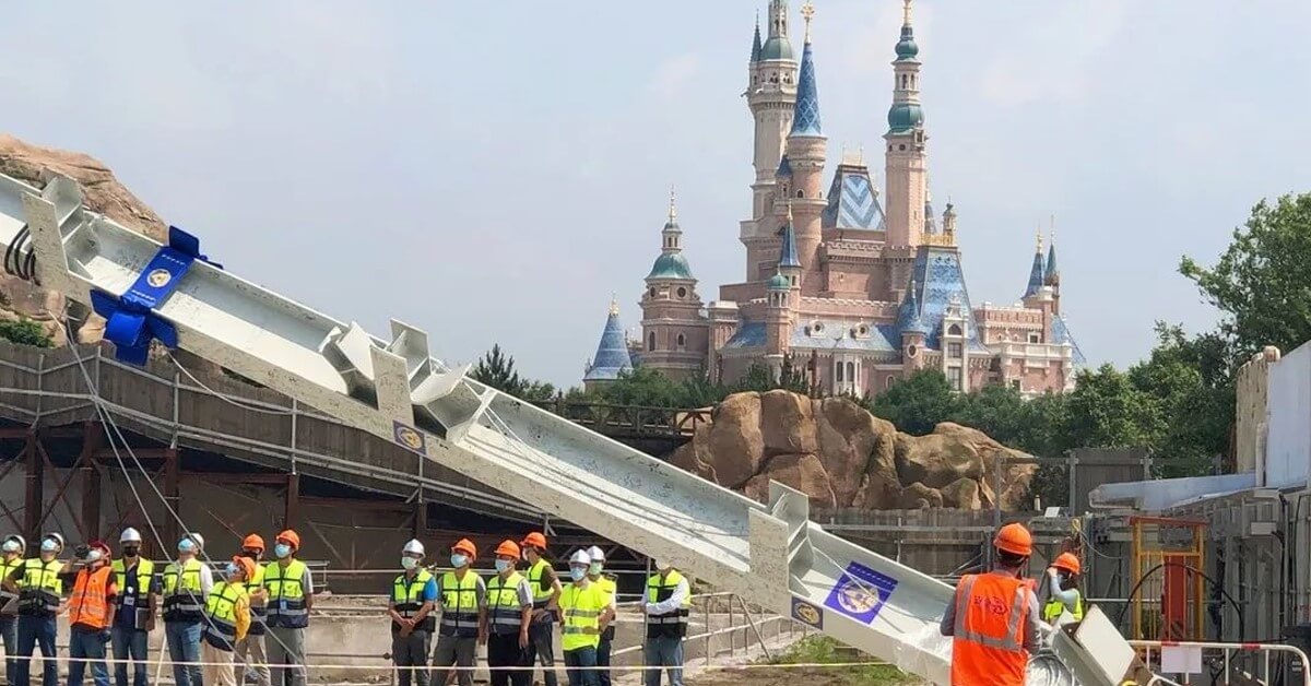 Bau der Zootopia Attraktion in Disneyland Shanghai