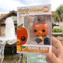 eine Person hält einen verpackten Funko Pop Orange Bird in Disney Springs vor einem Springbrunnen in die Luft