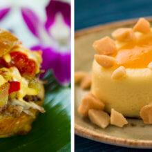 Zwei Bilder zeigen einen kleinen hawaiianischen Hamburger und ein fruchtiges Dessert beim Epcot Food and Wine Festival