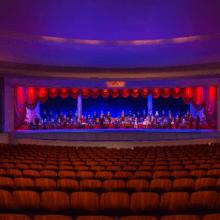 Blick in das Theater der Hall of Presidents und die Audio-Animatronics der Präsidenten auf der Bühne