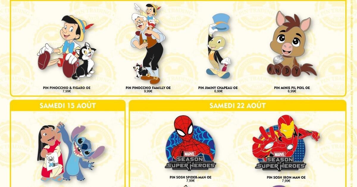 Mehrere neue Pins zu Pinocchio und weiteren Disneyfiguren auf einer Werbegrafik des Disneyland Paris