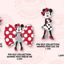 Auf einer Grafik sind drei Minnie Mouse Pins und ein passendes Pin-Lanyard zu sehen