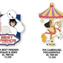 Ein limitierter Pin zeigt Baymax und Hiro, ein weiterer zeigt Pocahontas auf einem Karussellpferd