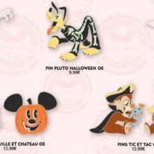 Eine Infografik zeigt mehrere Disney Halloween Pins aus dem Disneyland Paris