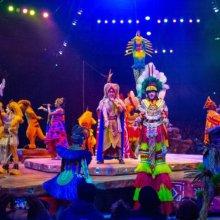 Die Darsteller der Musicalshow Festival of the Lion King in Disney's Animal Kingdom stehen auf der Bühne in der Mitte des Raums und performen ein Lied