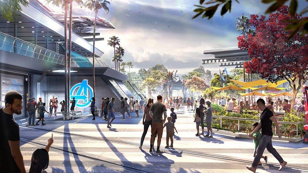 Avengers Campus: Konzeptzeichnung für den neuen Marvel Bereich