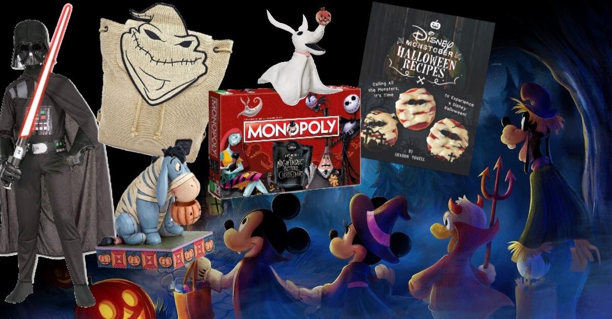 Mickey Maus, Minnie Maus und Donald stehen Hand in Hand vor Halloween Merchandise