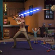 Sims-Frau schwingt ein Lichtschwert