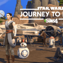 Rey steht mit BB8 vor einem X-Wing