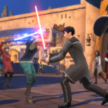 Zwei Sims kämpfen in der Spielwelt mit einem Lichtschwert gegeneinander