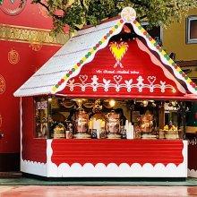 Weihnachtlicher Essensstand festlich Dekoriert im Disney Village