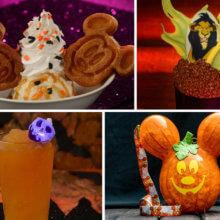 Eine Grafik zeigt vier verschiedene Snacks und Getränke zu Halloween in Walt Disney World