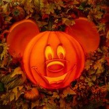 Eine beleuchtete Laterne in Form eines Mickey Mouse-Kopfs