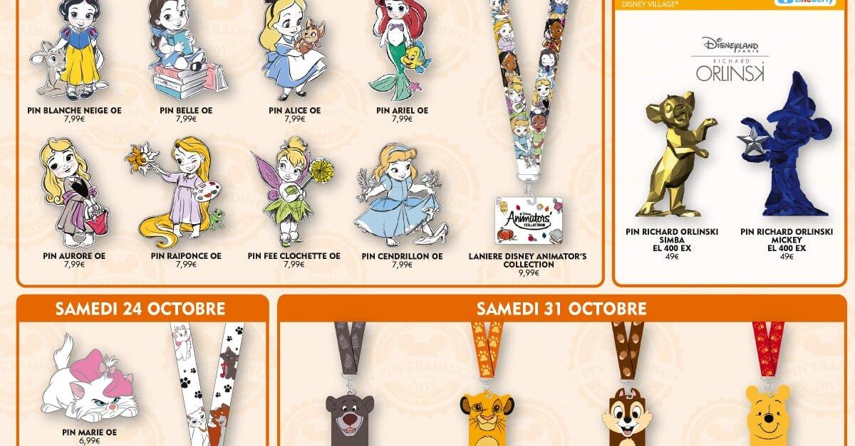 Auf einer Grafik des Disneyland Paris sind verschiedene neue Disney Pins abgebildet