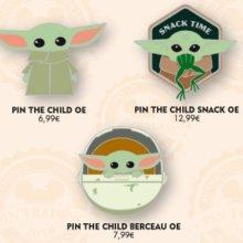"""Abbildung von drei neuen Disney Pins zu The Child aus der Disney+ Serie """"The Mandalorian"""""""