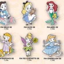 Abbildung von acht Disney Pins im Stil der Disney Animator's Collection und eines dazu passenden Lanyards