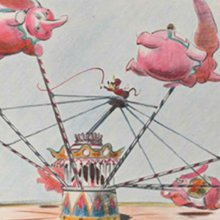 """Das Bild zeigt eine Entwurszeichnung von """"Dumbbo the Flying Elephant"""""""