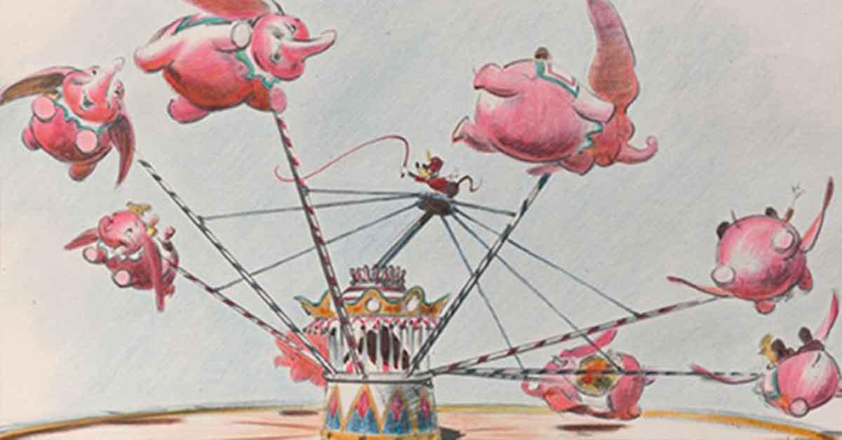 """Entwurfszeichnung von """"Dumbo the Flying Elephant"""" aud den Walt Disney Archiven"""