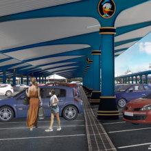 Model eines überdachten Parkplatzes