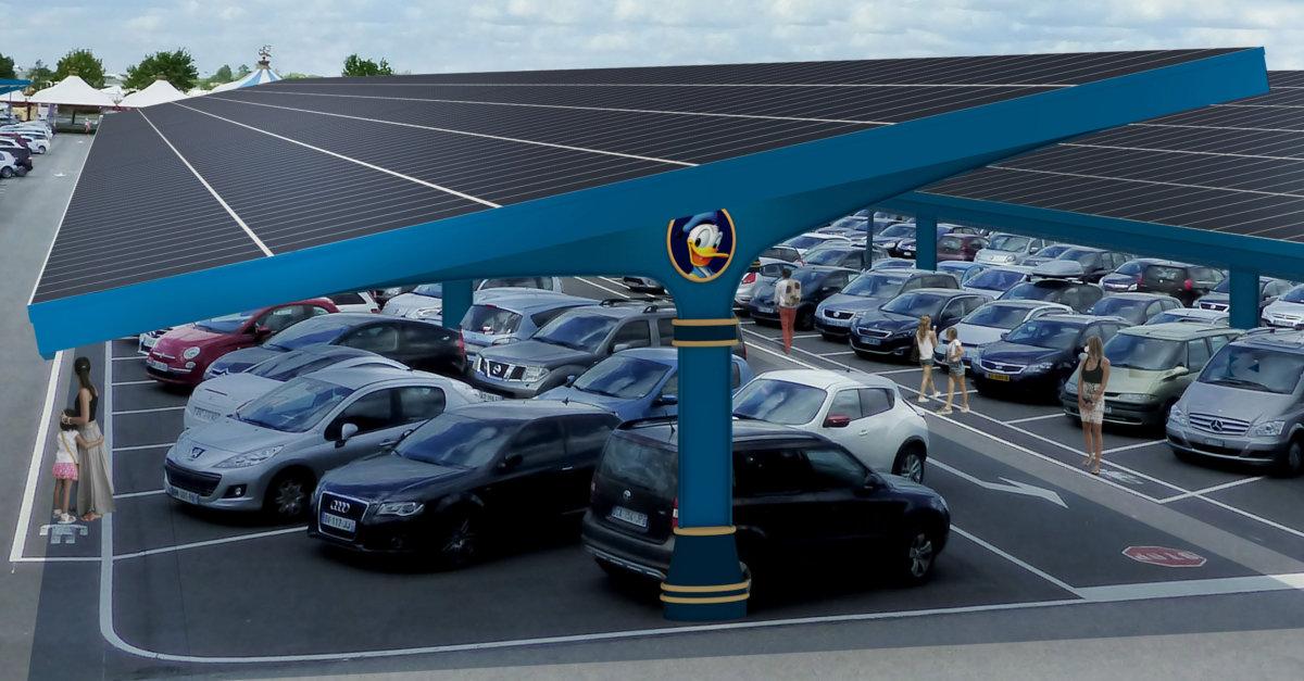 Überdachung der Disneyland Paris Parkplätze mit Solaranlagen