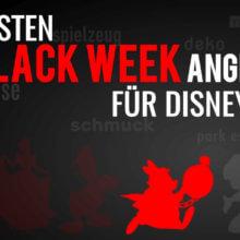 """Weißes Kanninchen auf schwarzem Hintergrund mit der Schrift """"Die besten Black Week Angebote für Disney Fans"""""""