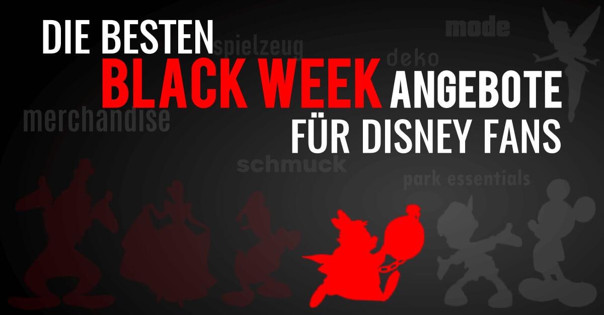 """Weißes Kaninchen auf schwarzem Hintergrund mit der Schrift """"Die besten Black Week Angebote für Disney Fans"""""""