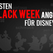 """Goofy auf schwarzem Hintergrund mit der Schrift """"Die besten Black Week Angebote für Disney Fans"""""""