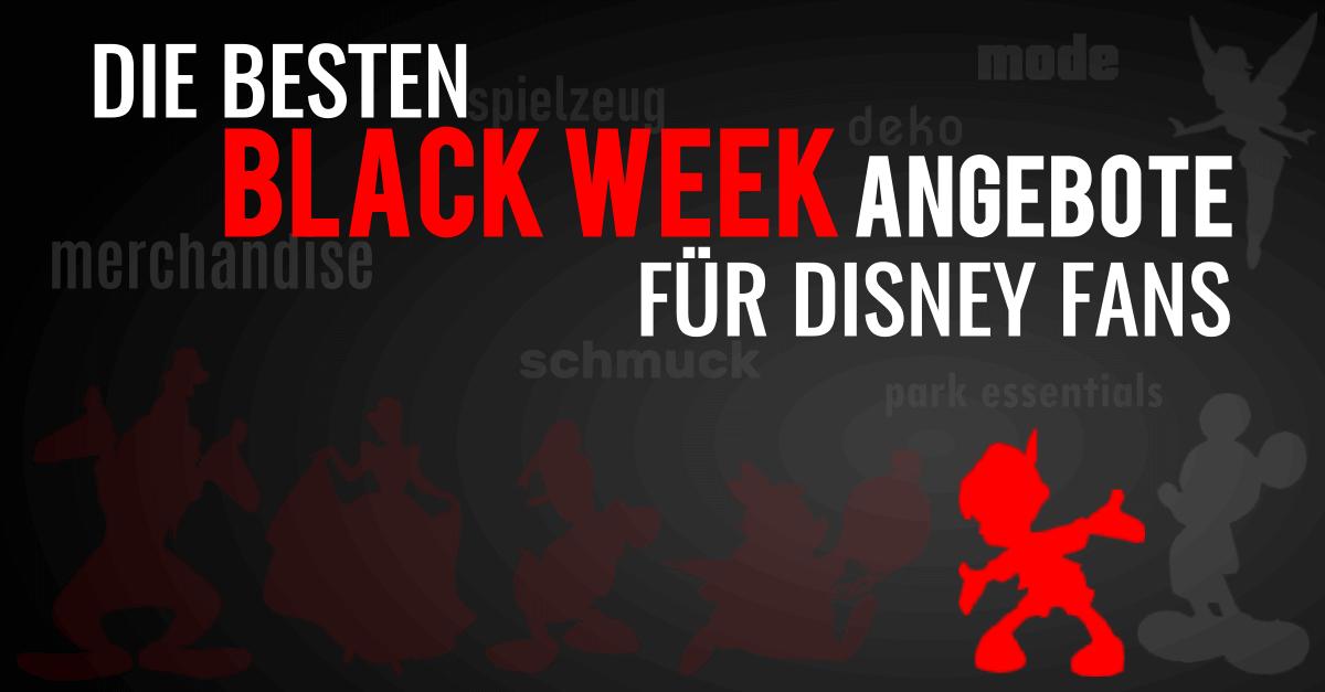 """Pinoccio auf schwarzem Hintergrund mit der Schrift """"Die besten Black Week Angebote für Disney Fans"""""""