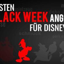 """Donald Duck auf schwarzem Hintergrund mit der Schrift """"Die besten Black Week Angebote für Disney Fans"""""""