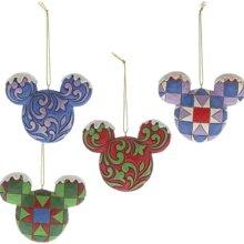 vier bunt bemalte Mickeyköpfe als Ornament
