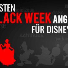 """Cinderella auf schwarzem Hintergrund mit der Schrift """"Die besten Black Week Angebote für Disney Fans"""""""