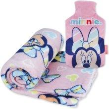 Minnie abgebildet auf einer Wärmflasche und Decke