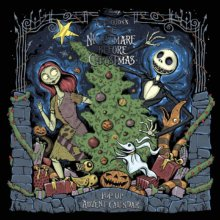 Jack und Sally sind mit einem Weihnachtbaum abgebildet