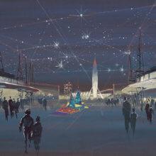 Eine Konzeptzeichnung zeigt die mögliche Gestaltung des Tomorrowlands in futuristischem Design