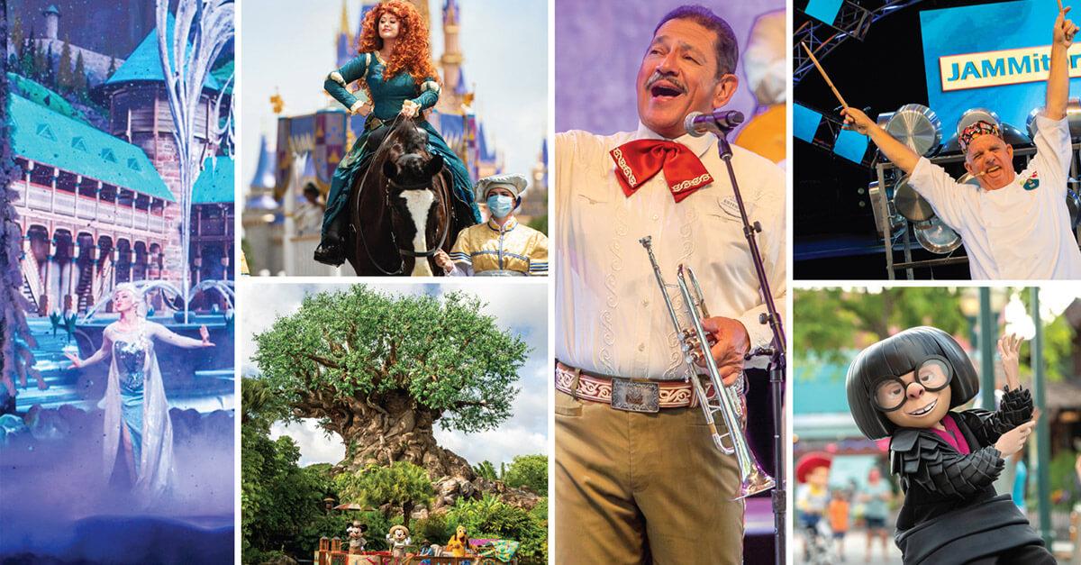 Live-Unterhaltung in Walt Disney World mit Musik und Darstellern.