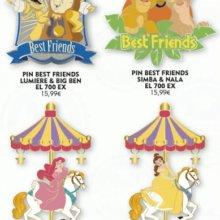 Eine Werbegrafik zeigt vier aufwendig gestaltete Disneypins