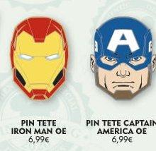Vier Pins mit Marvel Superhelden-Motiven sind auf einer Werbegrafik des Disneyland Paris sichtbar