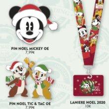 Mehrere Disneypins und Pin-Lanyards auf einer Werbegrafik des Disneyland Paris