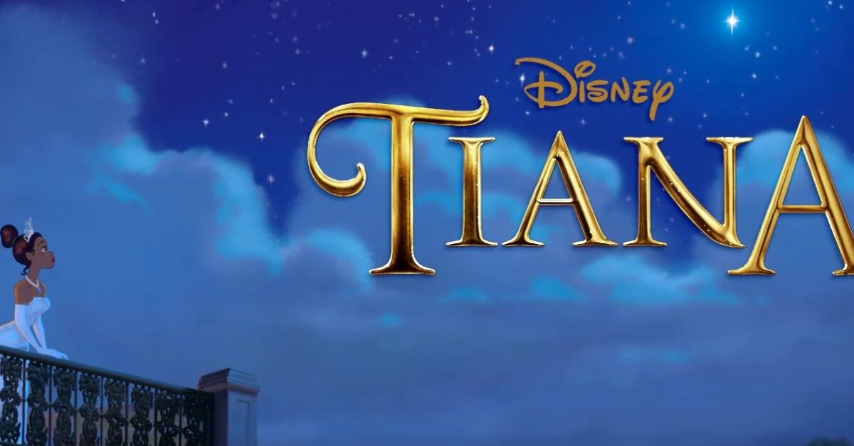 Tiana steht auf dem Balkon und schaut hinauf zu Evangeline, dem leuchtenden Stern.