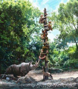 Jungle Cruise: Abenteuerer flüchten vor Nashorn auf einen Pfahl